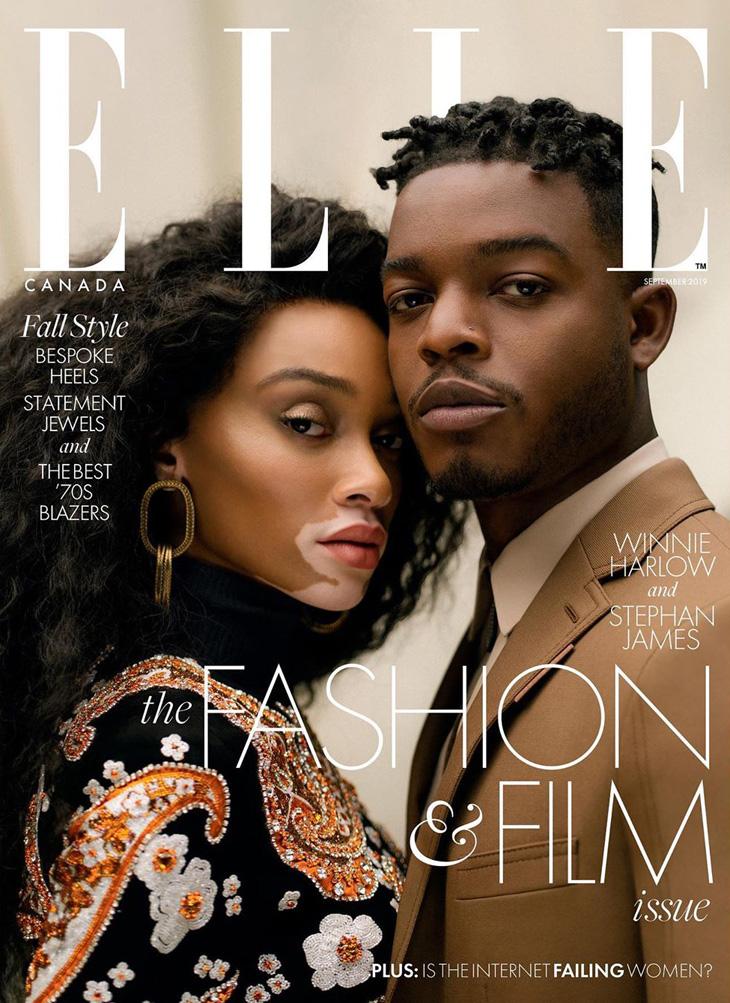 bd3fd83f7e4 Stephan James & Winnie Harlow Cover Elle Canada September 2019